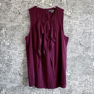Vince Plum Colored Silk Ruffle Front Tank Top